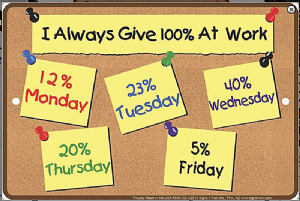 I Always Give 100% At Work... funny metal wall sign   305mm x 205mm (sf)